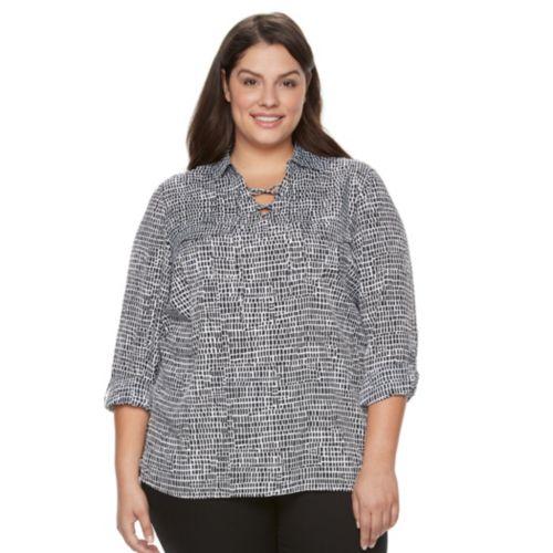 Plus Size Croft & Barrow® Lace-Up Blouse