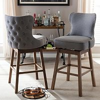 Baxton Studio Gradisca Swivel Bar Stool 2-piece Set