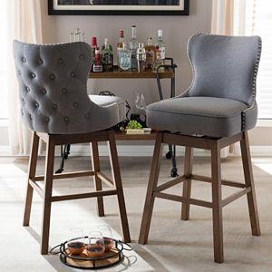 Fantastic Baxton Studio Ginaro Swivel Bar Stool 2 Piece Set Uwap Interior Chair Design Uwaporg
