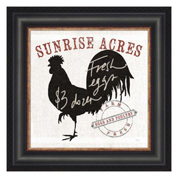 Metaverse Art Farm Linen Rooster Black Framed Wall Art