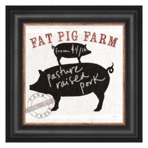 Metaverse Art Farm Linen Pig Black Framed Wall Art