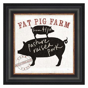 Metaverse Art Farm Linen Pig Black Framed Wall Art