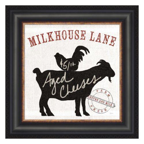 Metaverse Art Farm Linen Goat Black Framed Wall Art