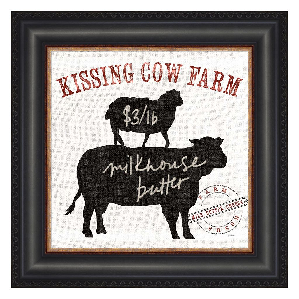 Metaverse Art Farm Linen Cow Black Framed Wall Art