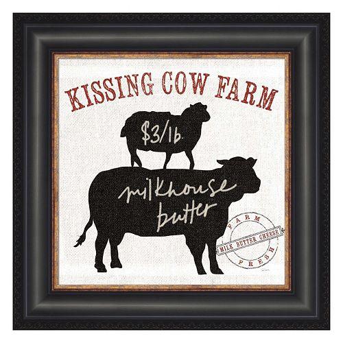 Metaverse Art Farm Linen Cow Black Framed Wall Art