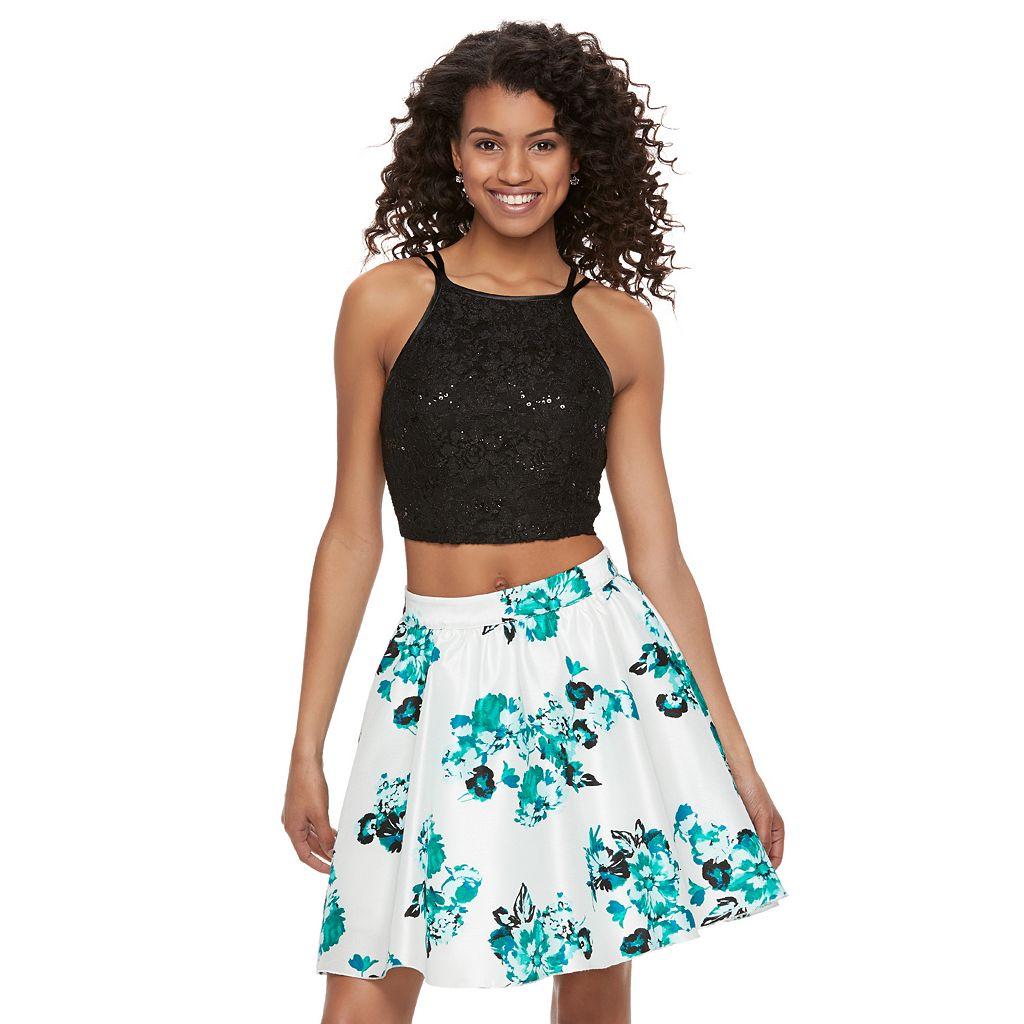 Juniors' Speechless Sequin Floral Halter Top & Skirt Set