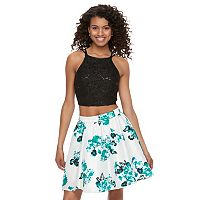 Juniors' Speechless Sequin Floral Halter Top & Skirt Set