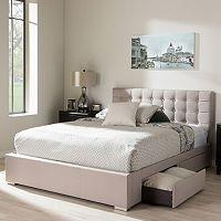 Baxton Studio Rene 4-Drawer Storage Queen Platform Bed