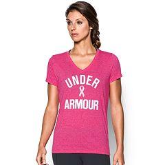 Women's Under Armour Power in Pink Wordmark Tech V-Twist Tee