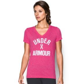 Women's Under Armour Power in Pink Wordmark Tech V-Twist Tee