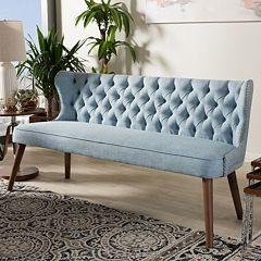 Baxton Studio Scarlett Mid-Century Modern Button Tufted Sofa