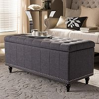Baxton Studio Kaylee Button Tufted Storage Ottoman Bench