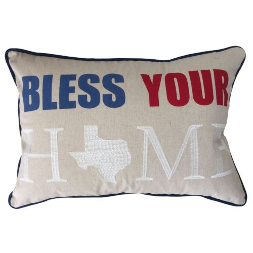 Texas ''Bless Your Home'' Embroidered Applique Oblong Throw Pillow