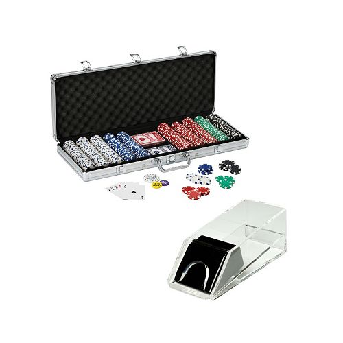 Texas Hold'em Poker Chips & Acrylic Card Shoe Set by Fat Cat