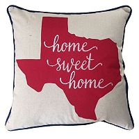 Texas ''Home Sweet Home'' Embroidered Throw Pillow