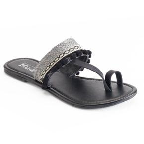 Mudd® Festival Embroidered Mini Pom Pom Toe Loop Sandals