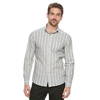 Men's Marc Anthony Slim-Fit Striped Linen-Blend Button-Down Shirt