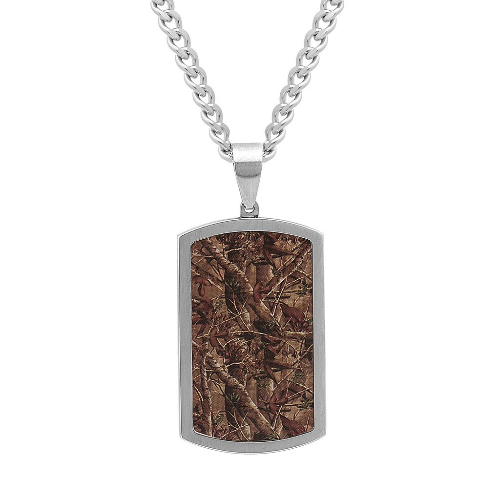 Men's Stainless Steel Camouflage Dog Tag Necklace