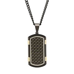 Men's Two Tone Stainless Steel Woven Dog Tag Necklace