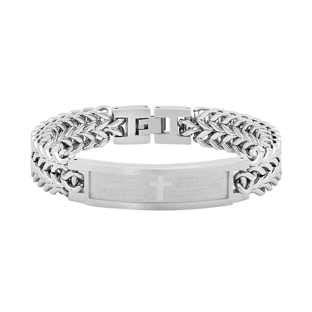 Men's Stainless Steel The Lord's Prayer Cross ID Bracelet