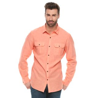 Men's Marc Anthony Slim-Fit Linen-Blend Textured Button-Down Shirt
