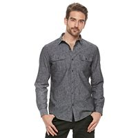 Men's Marc Anthony Slim-Fit Linen-Blend Textured Button-Down Shirt