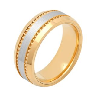 Men's Two Tone Cobalt Grooved Wedding Band