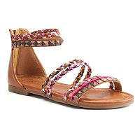 SO® Girls' Strappy Ankle-Cuff Sandals