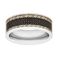 Men's Stainless Steel Filigree Wedding Band