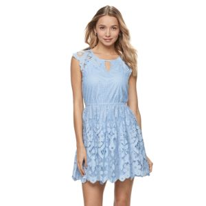Juniors' Up by ultra pink Lace Keyhole Dress