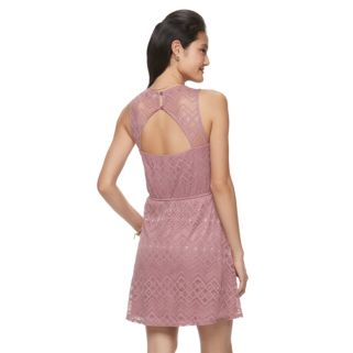 Juniors' Up by ultra pink Sleeveless Lace Dress