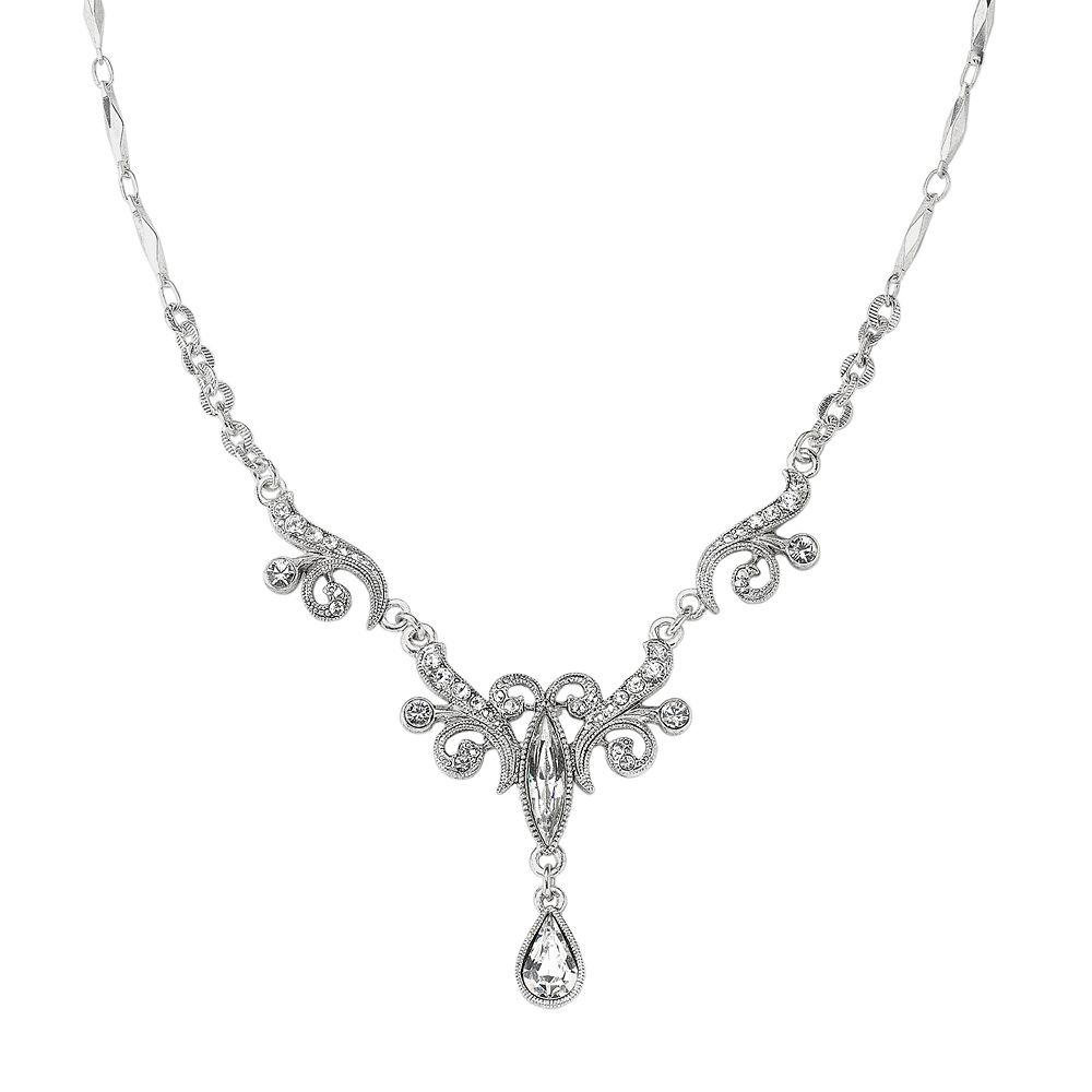 1928® Silver Tone Simulated Crystal Fancy Drop Necklace