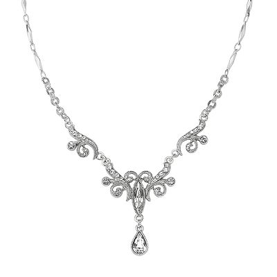 1928 Silver Tone Simulated Crystal Fancy Drop Necklace