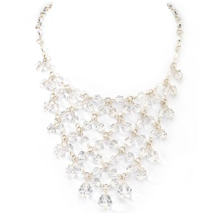 1928 Silver-Tone Crystal Bib Necklace