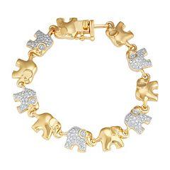 14k Gold Plated Diamond Accent Elephant Bracelet