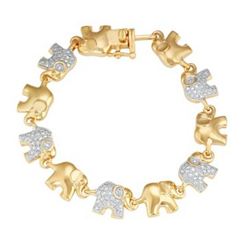 14k Gold Plated Diamond Accent Elephant Bracelet