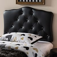 Baxton Studio Rita Faux Leather Scalloped Twin Headboard