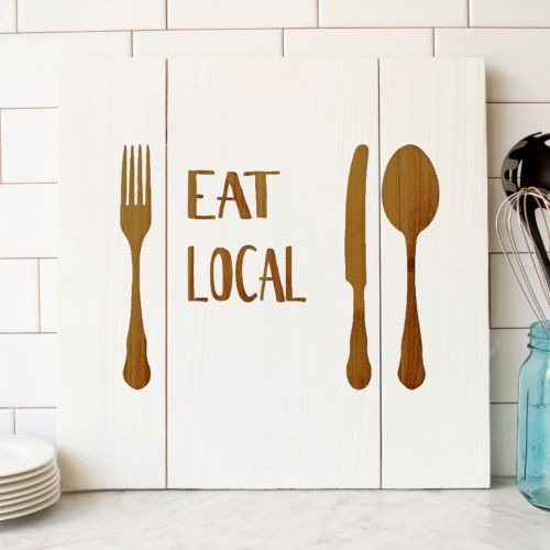 "Cathy's Concepts ""Eat Local"" Rustic Wooden Wall Decor"