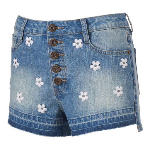 Juniors' Rampage Wes 5-Button Denim Shortie Shorts