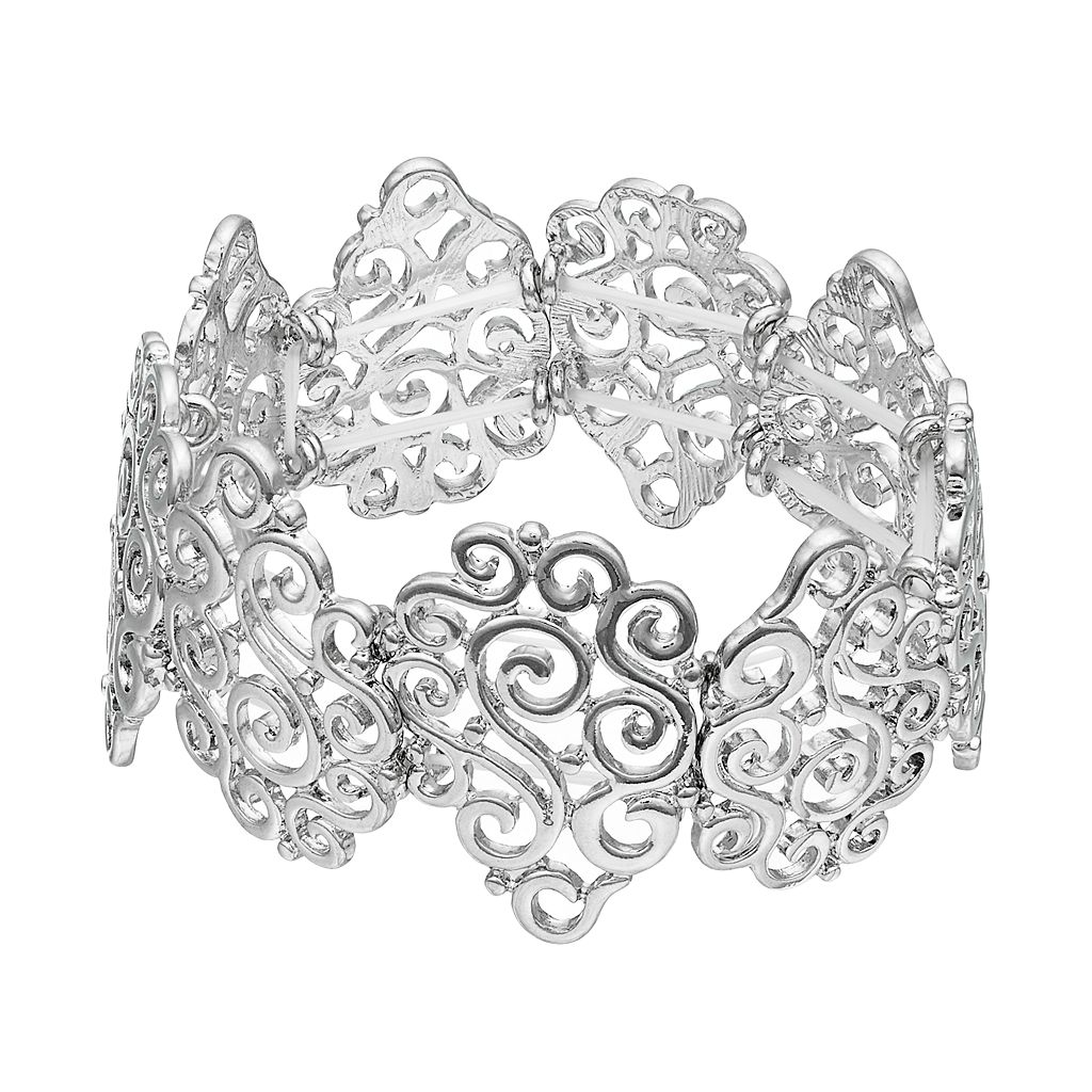 Filigree Teardrop Link Stretch Bracelet