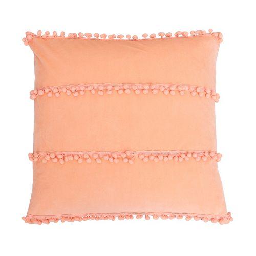 Thro by Marlo Lorenz Petrina Payton Pom Pom Faux Velvet Throw Pillow