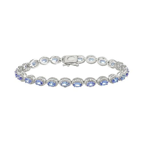 Sterling Silver Tanzanite & Diamond Accent Oval Halo Bracelet