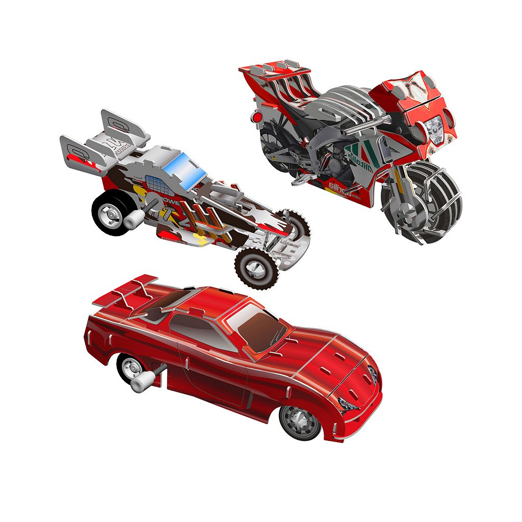Skullduggery Smithsonian 3-pk. Vehicles 3D Motorized Puzzles