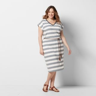 Plus Size SONOMA Goods for Life™ Belted T-Shirt Dress