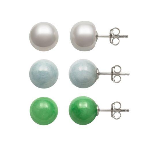 Sterling Silver Jade, Aquamarine & Freshwater Cultured Pearl Ball Stud Earring Set
