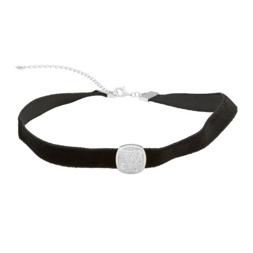 Sterling Silver Cubic Zirconia Square Velvet Choker Necklace