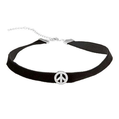 Sterling Silver Cubic Zirconia Peace Symbol Velvet Choker Necklace