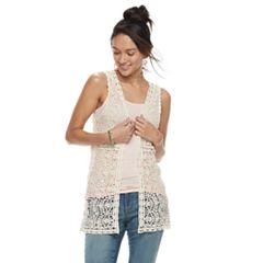 Mudd® Lace Crochet Vest