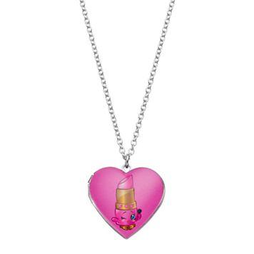 Shopkins Kids' Lippy Lips Heart Locket Necklace