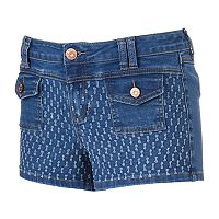 Juniors' Rampage Sophie Destructed Denim Shortie Shorts